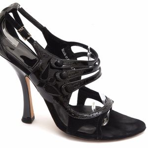 CHRISTIAN DIOR Black Patent Leather Suede Pump